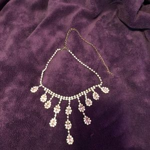 Beautiful Costume Necklace Pink Pear Shaped Stones